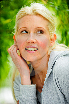 Beautiful Blond Female Relaxing In The Park Royalty Free Stock Photo - Image: 9715235
