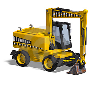 Rendering Of A Wheel Excavator With Clipping Path Royalty Free Stock Photos - Image: 9715958