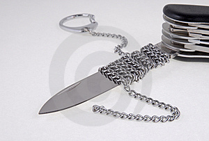 Folding Knife ,blade Chained Stock Photography - Image: 9717582
