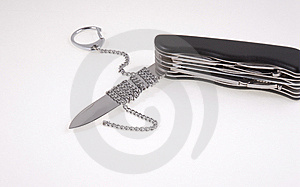 Folding Knife ,blade Chained Stock Images - Image: 9717594