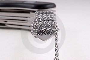 Folding Knife ,blade Chained Stock Image - Image: 9717671