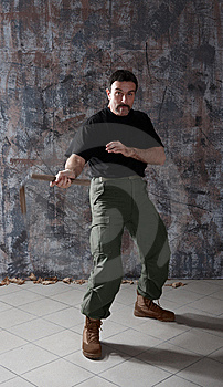 Man Practice Martial Arts With Nunchaku Royalty Free Stock Photography - Image: 9718747