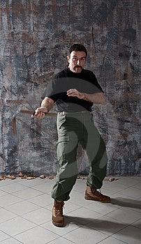 Man Practice Martial Arts With Nunchaku Royalty Free Stock Photography - Image: 9718747