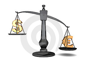 Dollar And Euro On Scale Royalty Free Stock Photo - Image: 9723255