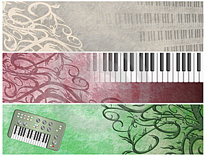 Grungy Musical Retro Keyboards  Headers Stock Photography - Image: 9725512