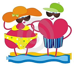 Two Hearts On A Beach. Royalty Free Stock Photography - Image: 9729287