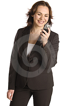 Businesswoman Text Messaging On Mobile Phone Royalty Free Stock Image - Image: 9729616