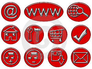 Your Red & Gray Shiny Web Button Icons Are Ready Stock Image - Image: 9729941