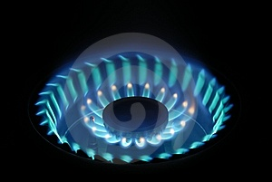 Blue Flame On Gas Stove Stock Image - Image: 9731851