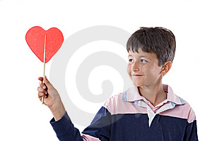 Funny Child With Lollipop With Heart-shaped Stock Photography - Image: 9732722