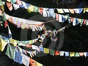 Prayer Flags On Black Royalty Free Stock Image - Image: 9734696