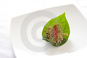 Spicy Bamboo Salad On A Leaf Royalty Free Stock Photos - Image: 9735098