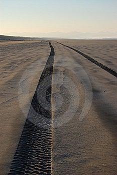 Tire Tracks On Sandy Beach Royalty Free Stock Photos - Image: 9740688
