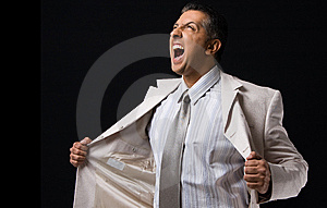Side View Of Shouting Boss Holding His Coat Royalty Free Stock Images - Image: 9743069