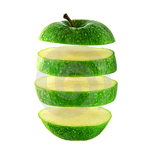 Green Apple Cut Into Slices Stock Photos - Image: 9743383