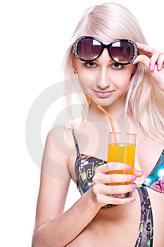 Beautiful Women In Swimsuit With A Glass Of Juice Stock Photos - Image: 9744433