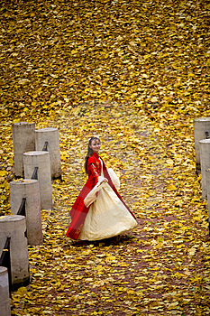 Lady In Autumn Forest Royalty Free Stock Photo - Image: 9744445