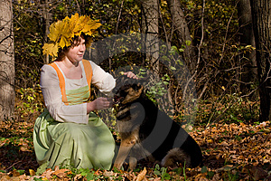 Woman And Dog Royalty Free Stock Photo - Image: 9744905
