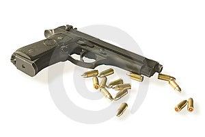 Semi-autos Gun With Fourteen Bullets Stock Photos - Image: 9750783