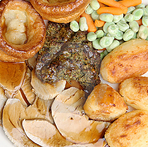 Roast Pork Dinner With Gravy Royalty Free Stock Image - Image: 9756056