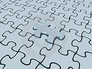 Puzzle Pieces With One Lifted Royalty Free Stock Images - Image: 9758769