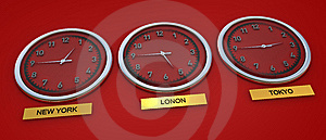 World Time For 3 Global Cities Royalty Free Stock Photos - Image: 9759298