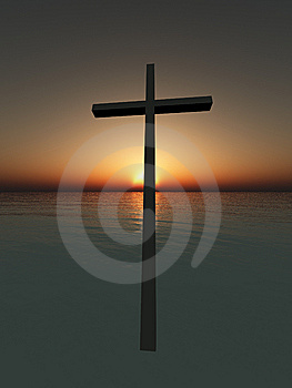 Hovering Cross Over The Sea Royalty Free Stock Photo - Image: 9759885
