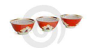 Small Red Bowls Isolated Stock Photos - Image: 9776083
