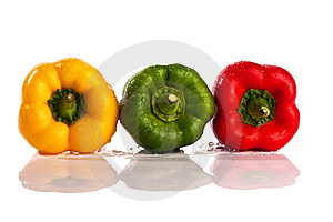 Three Fresh Peppers Royalty Free Stock Photography - Image: 9776107