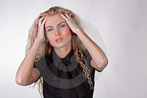Blond Young Woman With A Pounding Headache Royalty Free Stock Photography - Image: 9776217