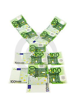 Currency Symbol Yen From 100 Euro Banknotes Royalty Free Stock Photos - Image: 9779418