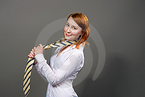 Red Hared Girl Smiling With Tie Stock Image - Image: 9779581