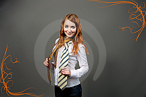 Red Haired Woman With Big Eyes Royalty Free Stock Photo - Image: 9779845