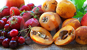 Strawberries, Cherries And Loquats. Stock Images - Image: 9785264