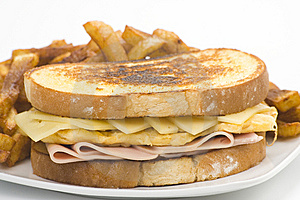 Tasty Sandwich Of Ham And Cheese Omelet Royalty Free Stock Photo - Image: 9785365