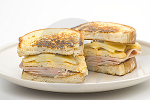 Tasty Sandwich Of Ham And Cheese Omelet Royalty Free Stock Photo - Image: 9785585