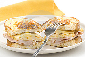 Tasty Sandwich Of Ham And Cheese Omelet Royalty Free Stock Photography - Image: 9785617