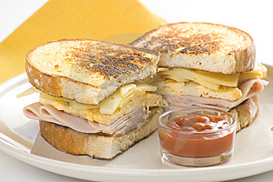 Tasty Sandwich Of Ham And Cheese Omelet Royalty Free Stock Photos - Image: 9785658