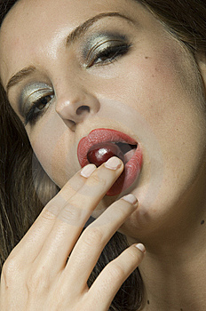 Beautiful Girl With Red Lipstick And Cherry Stock Photos - Image: 9787023