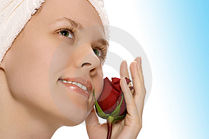 Beauty Girl In Towel With Rose After Shower Royalty Free Stock Images - Image: 9803329