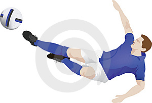Blue Kit Soccer Player Kick Stock Photography - Image: 9803402