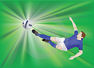 Blue Striker On Green Stock Photo - Image: 9803470