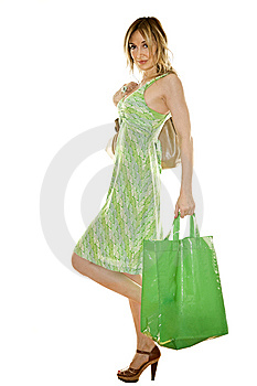 Happy Cute Young Woman Shopping Stock Photos - Image: 9803803