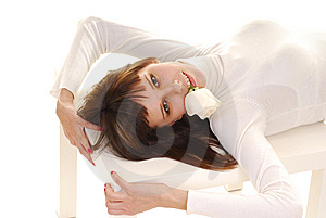 Woman Laying On Table Stock Photography - Image: 9806532