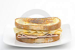 Tasty Sandwich Of Ham And Cheese Omelet Royalty Free Stock Photo - Image: 9810895