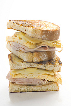 Tasty Sandwich Of Ham And Cheese Omelet Royalty Free Stock Photo - Image: 9811265