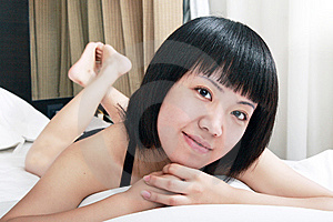 Asian Girl Relaxing In The Morning Stock Photos - Image: 9813673