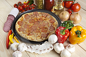 Pizza With Salami Stock Images - Image: 9815294