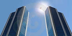 Towers And Business Jet Royalty Free Stock Photography - Image: 9818427