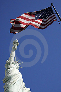 Statue Of Liberty And The American Flag United Sta Stock Photos - Image: 9822603